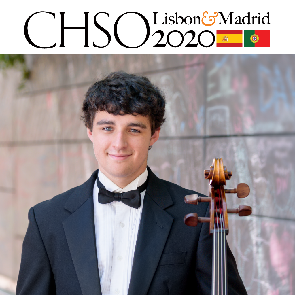 The cover of the CHSO Lisbon and Madrid 2020 Prospectus including a photo of a young man in a tuxedo holding a chello
