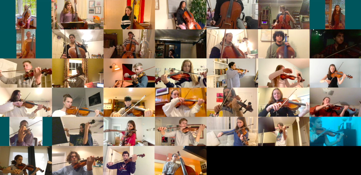 Many individual students appear in separate panels of a teleconference video call while playing their instruments together remotely